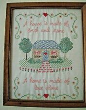 Vintage Sampler Hand Embroidery A home is made of love alone Framed 12 x 15