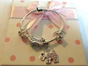 girls childrens ladies sparkly dog bone scotty dog charm bracelet in gift box