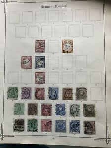9 Old Album Pages Of 19th Century German Stamps See Photos