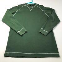 Redhead Men's Long Sleeve Basic Crewneck Shirt Medium M Green Ribbed Casual