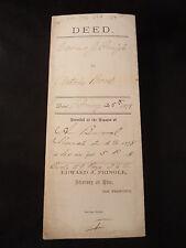 Antique PROPERTY DEED 1878 ANTOINE BOREL & EDWARD PRINGLE SAN MATEO CA