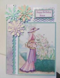 modern,NIECE, Birthday card, Pretty, floral, elegant lady, lovely pastel colours