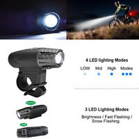 Super Bright USB Rechargeable 3 LED Bicycle Bike Front Headlight Lamp Waterproof