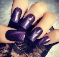 Hand Painted Gel False Nails Purple Sparkle Short Square