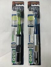 2 GUM Star Wars Lightsaber Manual Toothbrushes Light Up 1x Yoda 1x Anakin