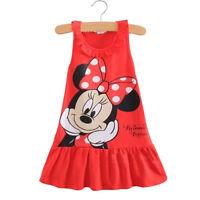 Kids Baby Girls Shirt Dress Cartoon Mouse Sundress Ruffled Sleeveless Clothes