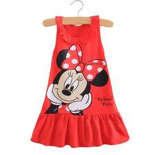 Kids Baby Girls Shirt Dress Minnie Mouse Sundress Ruffled Sleeveless Clothes 0-5