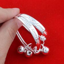 "Unique & Elegant 925 Sterling Silver 2"" Bracelet Bangle for Newborn Baby 2pcs"