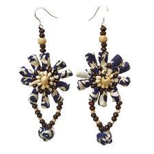 Boucles d'oreilles - attache en argent 925 - tissu coton beige marron bleu nuit