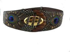 Lee Sands Hawaii Genuine Peacock & Pheasant Feathers Belt NWT in Original Bag