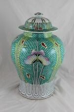 Large Antique Chinese Famille Rose Porcelain Lidded Vase Butterfly Cabbage c1940