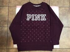 Victoria's secret Pink NWT Wine Red *PINK* Bling Crew-neck (S)