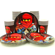 48pcs Red Ninja Ninjago Theme Paper Plate Cup Tableware Set Party Decoration