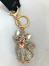 CUTE PUSSY CAT Aristocats Diamante Keyring Rhinestone Handbag Charm Bling *NEW*