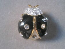 NEW JOAN RIVERS LADY BUG BLACK WHITE CRYSTAL PIN BROOCH COLLECTOR AWESOME!!!!