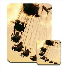 Kids on Swing Ride at Fairground Mouse Mat / Pad & Coaster