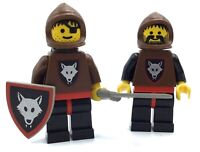 LEGO LOT OF 2 WOLF PACK MINIFIGURES VINTAGE CASTLE FIGURES WITH ACCESSORIES
