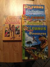 Lot 4 livres - Encylopédie Fleurus Junior - Dinosaures, Animaux, Civilisations