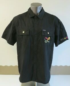 Mens LRG Lifted Research Group Wovens Black Solid Shirt Size XL Short Sleeve