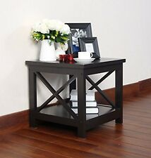Espresso Finish Wooden Square Chair Side End Table with Shelf