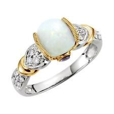 Opal, Tanzanite and 1/6 CTW Diamond Ring 14K White and Yellow Gold
