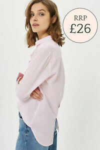 NEW TOPSHOP Pastel Pink Chambray Cotton  Oversized Shirt size 4-12  RRP £26