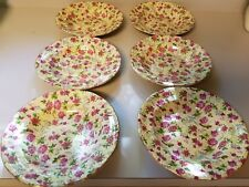 Formalities Soup/Cereal/Salad Bowls by Baum Brothers Chintz Floral and Gold Trim