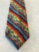 Men's Tie Necktie J Garcia Silk Desert Pattern Blue Rust Yellow Green