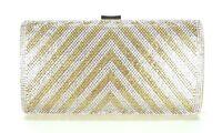 Women Evening Bag Wedding Bridal Prom Party Clutch Handbag Crystal Gold Stripes