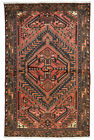Vintage Tribal Oriental Hamadan Rug, 4'x7', Red/Brown, Hand-Knotted Wool Pile