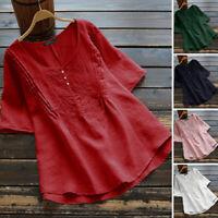 Mode Femme T-shirt Coton Manche Courte Broderie Col Rond Loisir Haut Tops Plus