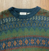 VTG 80's 90's Sears Men's L Fair Isle Nordic Geometric Knit Sweater Cosby Biggie