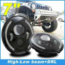 2x 7inch Round LED Headlight High-Low Beam  Angle Eyes For Jeep Wrangler 4x4
