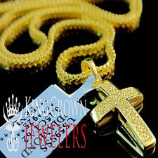 HOT Mini Real Canary Diamond Cross Pendant Charm 10K Yellow Gold Finish + Chain