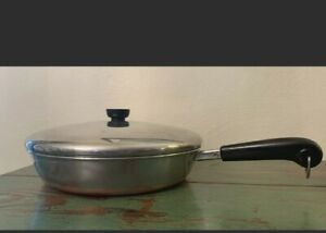 Vintage Revere Ware 12 Inch Skillet Frying Pan Copper Bottom matching lid fry