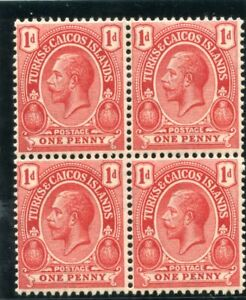 Turks & Caicos 1921 KGV 1d carmine-red block superb MNH. SG 156. Sc 38.
