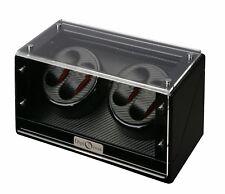 High Quality Diplomat Black Carbon Fiber Pattern 4 Watch Automatic Winder Box