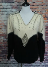 "VTG 70""s Shannan wool angora black white beaded sequin sweater size M"