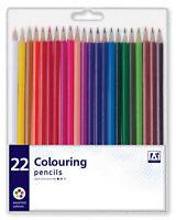 Pack 22 Assorted Colour Premium Colouring Pencils Kids Arts Crafts