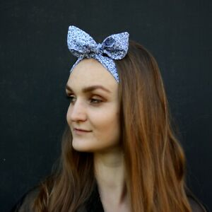 Authentic Vintage fabric 80s Top knot womens headband hand made Blue flowers