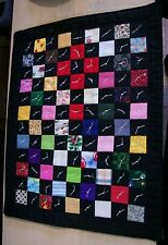 """AF0106 HANDMADE MINI QUILT #7 Wall Art 1 Patch 9.5 x 12"""" Tied Patchwork Black"""