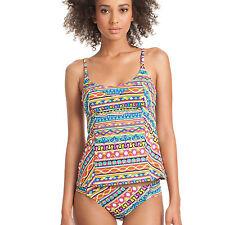 NWT Trina Turk 2-PC Peruvian Stripe Over Shoulder Tankini & Bikini Bottom Size 8