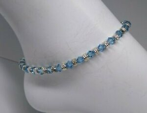 Handmade Swarovski Crystal Aquamarine Bicone & Silver Beaded Anklet / Bracelet