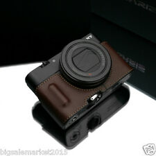 GARIZ Grip type RX100M4 Half Case + Wrist Strap Set Brown for SONY DSC-RX100 IV
