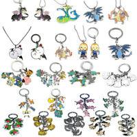 Lot Anime Cartoon Pokemon Metal Keychain Necklace Pendant