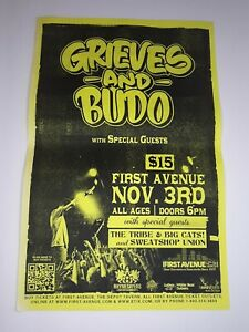 Grieves and Budo Concert Poster 11x17 Rhymesayers First Ave Underground Hip Hop