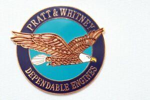 Pratt and Whitney Dependable Engines Emblem Enamel, Solid Metal Badge Plate
