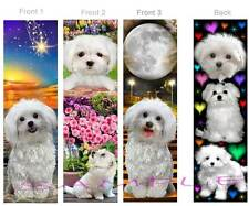 3 Set-MALTESE/ Bichon Frise BOOKMARK White DOG Puppy Book Mark ART Card Figurine