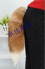 100% Real Fox Tail Fur Leather with Hair Golden Yellow White Tip Pelt Cosplay