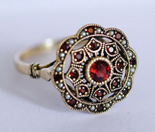 R289 Genuine 9ct Gold NATURAL Garnet & Pearl Vintage style Cluster Ring size N